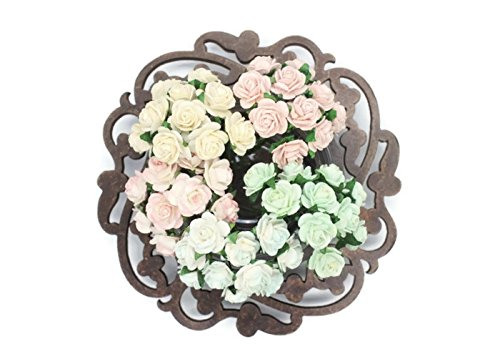 100 Pcs Mini Rose Mix Soft Pastel Shade 10 mm Mulberry Paper Flowers Scrapbooking Wedding - Paper Flowers Mulberry