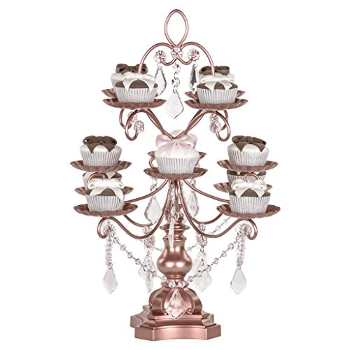 Madeleine Collection' 12 Piece Rose Gold Cupcake Dessert Stand, Wedding Display Tower with Crystals (Rose Gold)