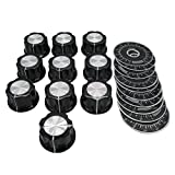 Taiss /10pcs Adjustable Rotate Button Potentiometer Control Knobs + 10pcs 0-100 Scale Sheet