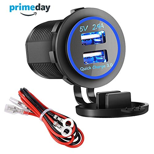 Conversion Mount Jack - Dual USB Charger Socket Power Outlet - Quick Charge 3.0 & 2.4A Port for Car Boat Marine Rv Mobile with Wire Fuse DIY Kit (QC 3.0 - Blue)