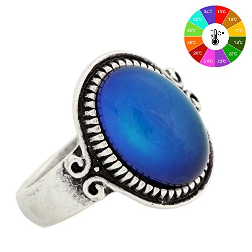 Mojo Classic Pattern Antique Sterling Silver Plating Oval Stone Color Change Mood Ring MJ-RS009 (7) (Stone Sterling Ring Color Silver)