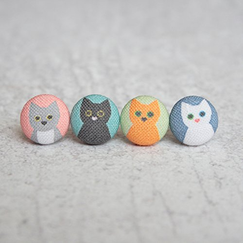 Cat Lady Mix and Match Fabric Button Earrings (Match Hipster)