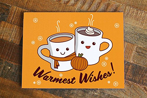 Holiday Spice Cocoa - Warmest Wishes Card - Hot Cocoa and Pumpkin Spice cute holiday card