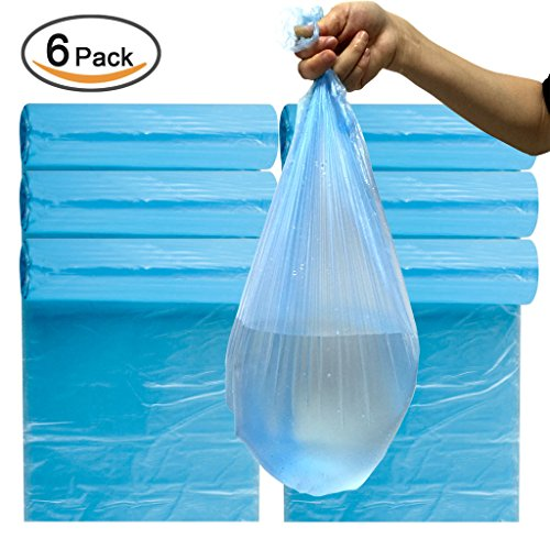 Plinrise Garbage Rubbish Trash Wastebasket Bags small Size 18 x 20 Inch,Great for Indoor Office,living Room, Bedroon,car,30 Counts x 6 Rolls/set (Total 180 Counts) (Blue 3 Gallon) (Waste Paper Basket Plastic Bags compare prices)