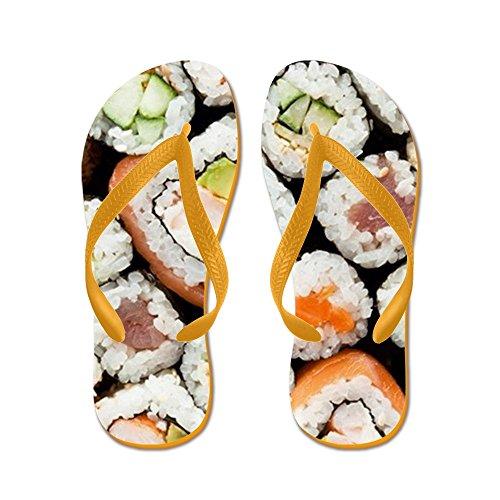 Cafepress Sushi Rolt Close-up Weergave - Flip Flops, Grappige Thong Sandalen, Strand Sandalen Oranje