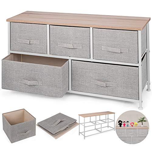 (Happybuy 5-Drawer Storage Organizer Unit with Fabric Bins Bedroom Play Room Entryway Hallway Closets Steel Frame MDF Top Dresser Storage Tower Fabric Cube Dresser Chest Cabinet (Beige/Wide))