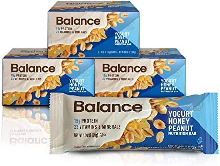 Balance Bar, Healthy Protein Snacks, Yogurt Honey Peanut, With Vitamin A, Vitamin C, Vitamin D, and Zinc to Support Immune Health, 1.76 oz, Pack of Three 6-Count Boxes