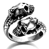 Alimab Stainless Steel Finger Rings Silver Black Double Skull Head for Men US Size 11