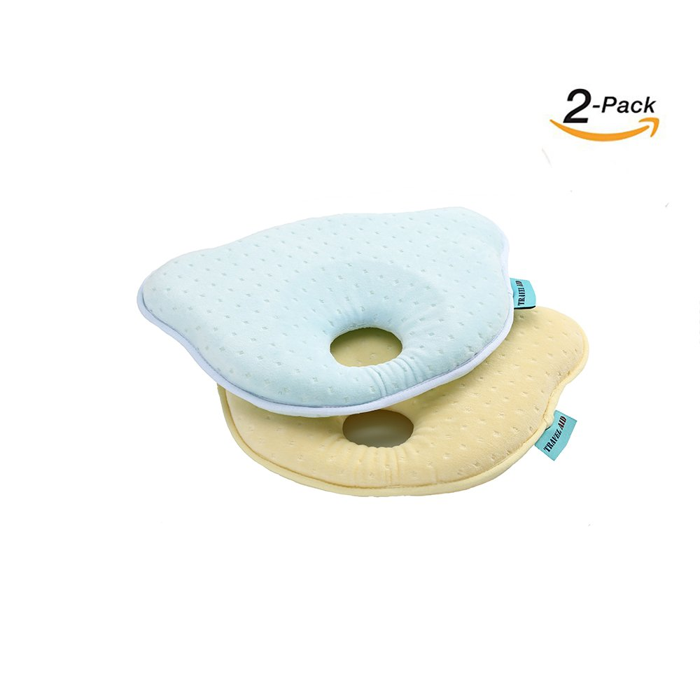 TRAVEL AID 2 PACK NEWBORN BABY PILLOW HEAD SHAPING SOFT MEMORY FOAM FOR INFANT COMFORT SLEEPING & TO PREVENT FLAT HEAD (Light Blue + Yellow)