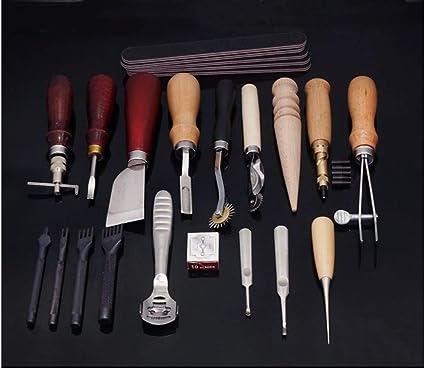 Beunyow 19 Piezas Kit de Herramientas de Coser de Cuero Artesanía de Costura Manual de Bricolaje con Ranurado, Punzón, Dedal, Aguja de Cuero Punzón de Perfomación Kit de Estampado de Hilo: Amazon.es: