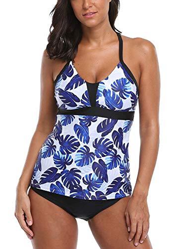 (CharmLeaks Women Modest Tankini Bathing Suit Palm Tree Two Piece Swimsuit Blue L)