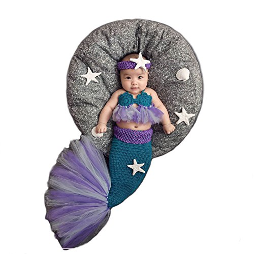 [Bigface Up Newborn Infant Baby Photography Props Crochet Knitted Mermaids Costume Set(1-3M)] (Newborn Mermaid Costumes)