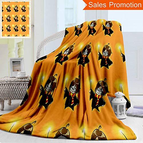 Unique Double Sides 3D Print Flannel Blanket Wizard