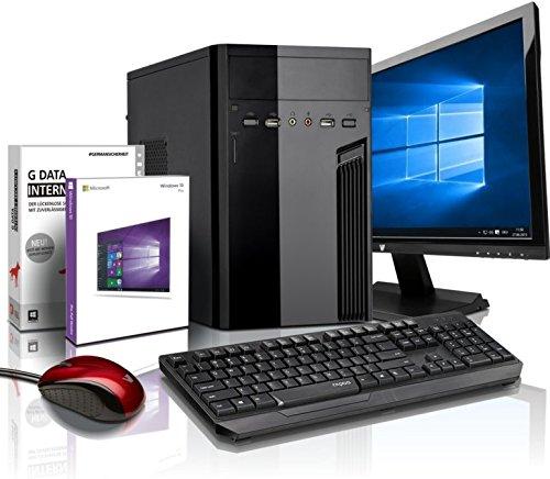 Komplett Flüster-PC Paket Intel Quad-Core Office/Multimedia shinobee Computer mit 3 Jahren Garantie! inkl. Windows10 Professional - INTEL Quad Core 4x2.41 GHz, 4GB RAM, 320GB HDD, Intel HD Graphics, USB 3.0, HDMI, VGA, Office, 19-Zoll LED TFT Monitor, Lautsprecher, Tastatur+Maus #5139