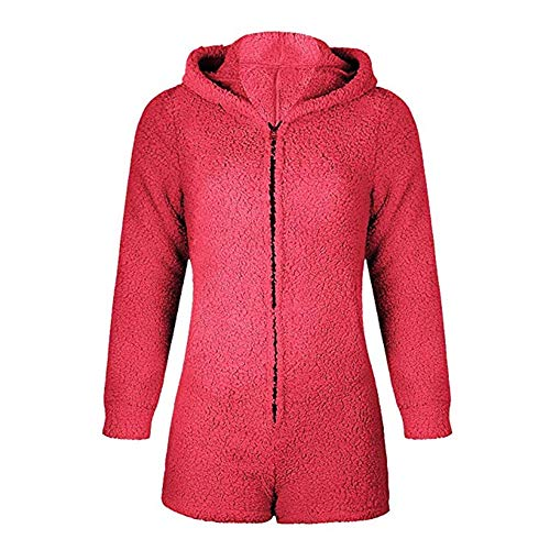 Okvpajdo Women Sherpa Fleece Pajama Suit Hooded Cute Bear Ears Long Sleeve Zipper Short Jumpsuit Sleepwear Romper Wine