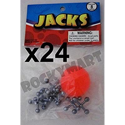 2 dozen sets- Jacks and Ball -Classic Children's Game Party Favor Toy- (24 Sets): Toys & Games