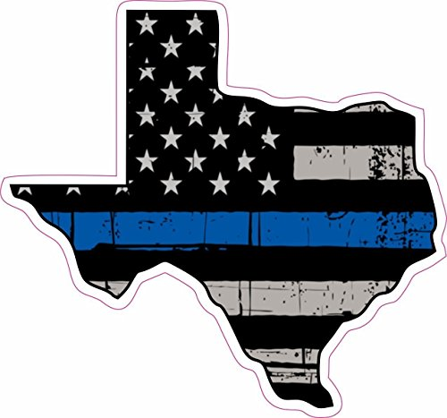 STICKER KING -Thin Blue Line Police Texas US Flag Distressed Vinyl Sticker Decal 4 inch