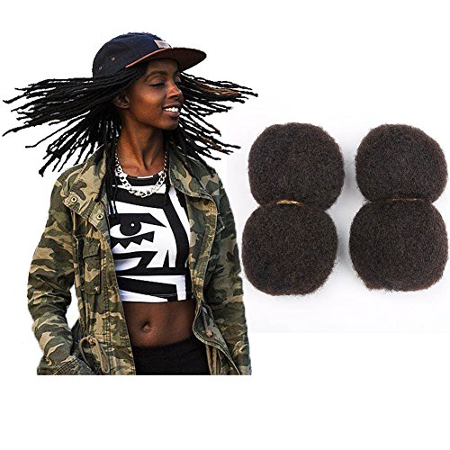 Tight Afro Kinky Human Hair bulk for dreadlocks or Twist Braids,2 pieces per Bundles,1 oz each one, Off Black #1B 8inch