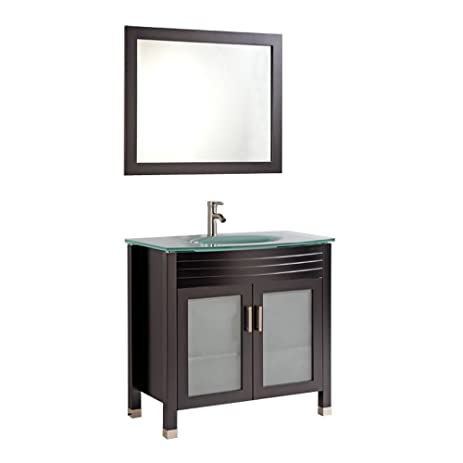 Charmant Legion Furniture WA3236E 36u0026quot; Tempered Glass Top Single Sink Bathroom  Vanity With Mirror And Faucet