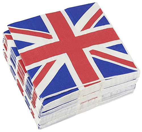 100-Pack Decorative Napkins - Disposable Paper Party Napkins with UK Flag Design - Perfect for Birthday Parties, Celebrations and Special Occasions, 13 x 13 Inches -