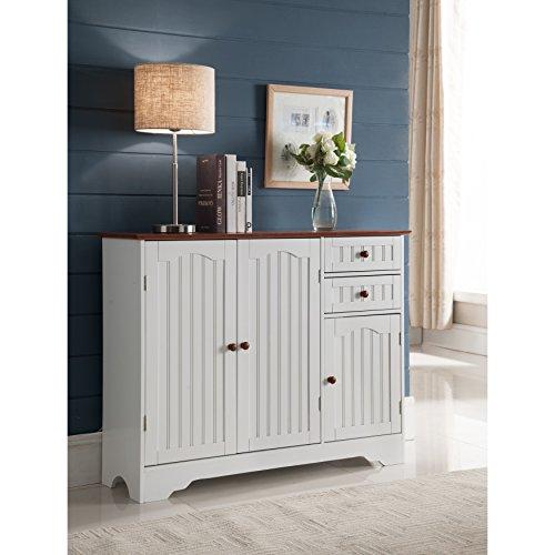 K and B Furniture Co Inc K and B Furniture Co White Wood Kitchen Storage Cabinet ()