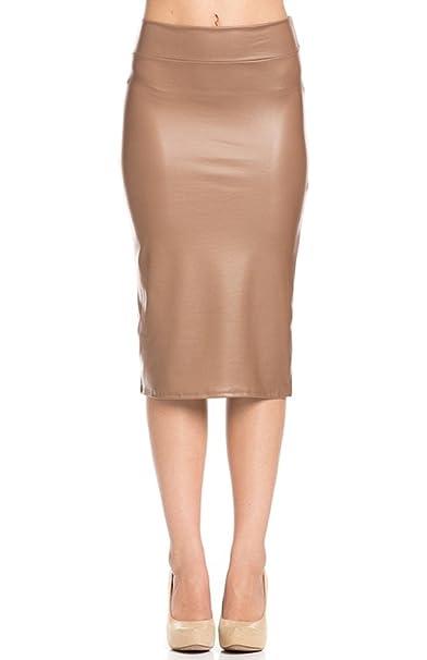 2LUV elástico de Piel sintética lápiz Falda de la Mujer: Amazon.es ...