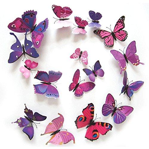 12PCS 3D PVC Magnet Butterflies DIY Wall Sticker Home Decor Purplish Red - 4