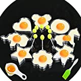 Fried Egg Mold Ring Set of 10 - CHANMOL Stainless Steel Non-Stick Egg Shaper Ring with Silicone Pastry Brush and Egg Separator, Kitchen Cooking Tools for Kids and Lovers (Set of 10( Include Bear))