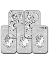 2019 - Present 1oz Silver Bar Australia Perth Mint Lot of (5) Dragon Series Coin $1 Brilliant Uncirculated