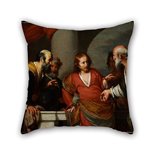 Artistdecor Oil Painting Bernardo Strozzi - The Tribute Money Throw Pillow Covers 20 X 20 Inches / 50 By 50 Cm Best Choice For Divan,family,play Room,lover,office,valentine With Each Side - Mens Sage Khaki