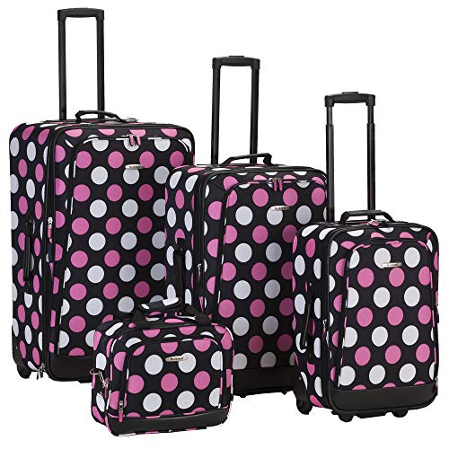 Rockland Luggage 4 Piece Printed Luggage Set, Mulpink Dots, Medium ()