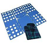 Clothes Folder-Yookat Clothes T Shirt Folder Plastic Shirt Folding Board Blue Adjustable Magic Fast Laundry Folder Flipfold Rack Organizer Easy Use for Shirts Dress Pants Towels Sw...