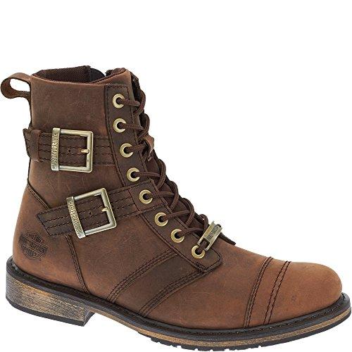 Harley-Davidson Men's Drexel Fashion Motorcycle Boots, Brown Full Grain Leather, Mesh, Rubber, 11.5 M