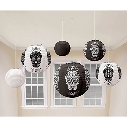 Amscan Day of the Dead Halloween Party Sugar Skull Round Hanging Lantern (Pack of 6), Black/White, 11 (Day Of The Dead Halloween Party)