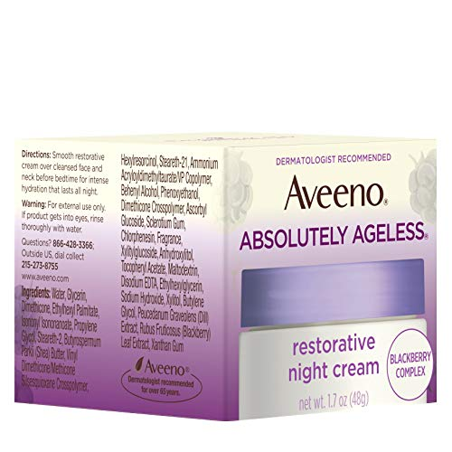 51j0zVZUgdL - Aveeno Absolutely Ageless Restorative Night Cream Facial Moisturizer with Antioxidant-Rich Blackberry Complex, Vitamin C & E, Hypoallergenic, Non-Greasy & Non-Comedogenic, 1.7 fl. oz