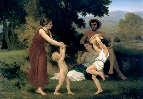 ($50-$2000 Handmade Oil Painting by College Teachers - The Pastoral Recreation 1868 William Adolphe Bouguereau Nude Classic NCC2 Canvas Art for Home Wall Decoration -Size 11)