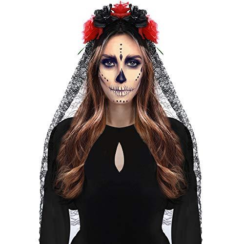 Cinta para la cabeza con Velo de Encaje - Día de Los Muertos Disfraces y Accesorios Floral bandas rojas para la cabeza y...