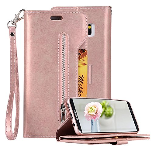 Price comparison product image PU Leather Zipper Wallet Case for Samsung Galaxy S8 Plus, Aearl Multi-functional Handbag Pocket Stand Magnetic Cover Inner Soft TPU Case Card Holder Wrist Strap for Samsung Galaxy S8 Plus - Rose Gold
