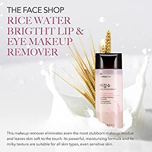 The Face Shop Oil-Free Liquid Eye Makeup Remover, Natural Rice Water Lipstick, Waterproof Mascara & Eyeliner Removal - 120 mL / 4 Oz