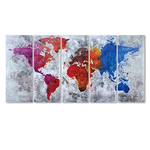 EZON-CH Extra Large Canvas Colourful Ink Splashed World Map On Gray Wall Background 5 Panel Large Wall Art 80 Inch Total