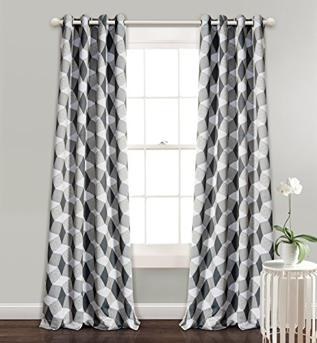 MYSKY HOME 3D Geometry Fashion Design Print Thermal Insulated Blackout Curtain Drape with Grommet Top for Kids Room, 52 by 84 Inch, Dark Grey, 1 Panel by MYSKY HOME