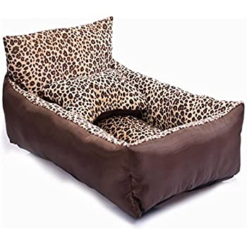 Liumltao Natural Leopard Pattern Dog Cat Bed Cushion Fleece Short Plush Medium or Small Pets Bed with Backrest Medium Dog Sofa Bed Brown Small