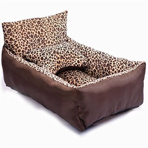 Liumltao Creative Fashion Natural Leopard Fleece Short Plush Medium or Small Pets Bed with Backrest Medium Dog Sofa Bed Brown Large (Backrest Pattern)