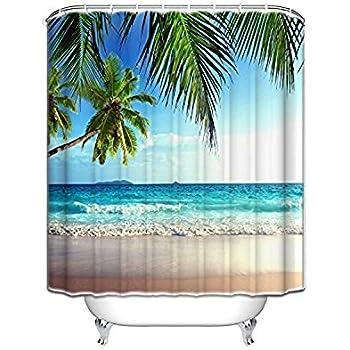 Vandarllin Palms Ocean Tropical Beach Theme Shower Curtain Bathroom Accessories 72x84 Extra Long