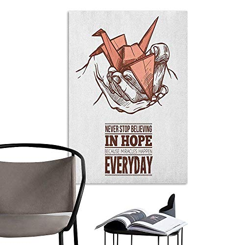 Alexandear Art Decor 3D Wall Mural Wallpaper Stickers Hope Hands Holding an Origami Crane with a Miracles Happen Everyday Quote Pale Orange Brown White Rental House Wall W32 x H48 -