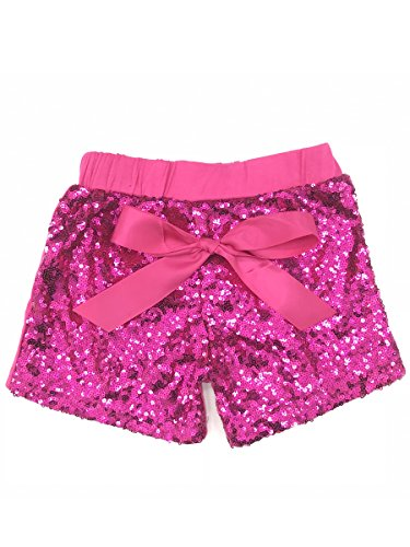ILTEX Baby Girls Short Sequin Pants Bottoms with Bow Toddler (Hot Pink, S ()