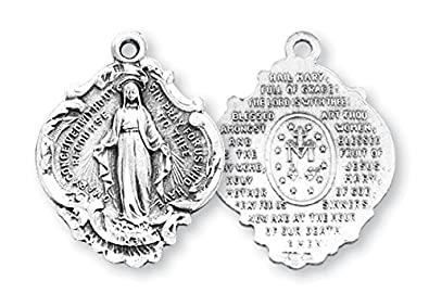 Catholic St. Mary Miraculous Medal Necklace With 24u0026quot; Chain, Hail Mary  Prayer On