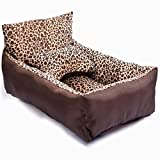 Liumltao Creative Fashion Natural Leopard Fleece Short Plush Medium or Small Pets Bed with Backrest Medium Dog Sofa Bed Brown Large