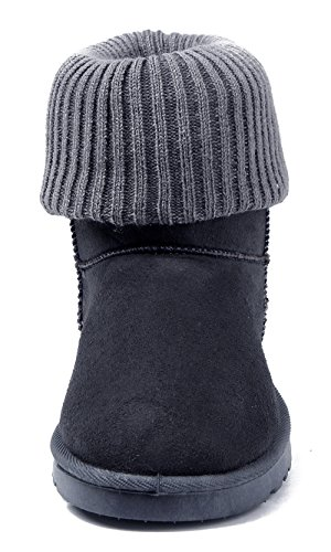 and Closed Boots Suede AgeeMi Winter Ankle Women Shoes Warm Round Toe Gray Knitted Dark SWFZzqF