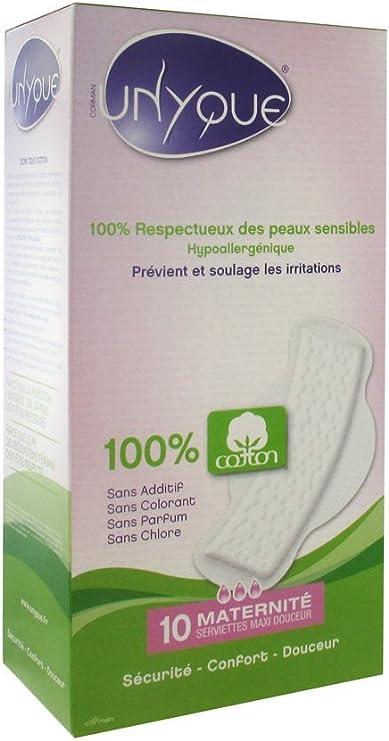 UNYQUE Compresas pos parto 100% algodón puro 10 Unidades 160 g: Amazon.es: Salud y cuidado personal